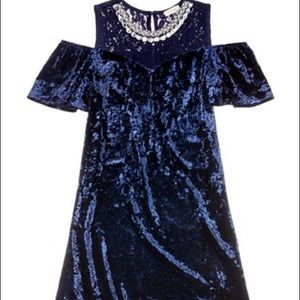 Monteau Blue Velvet Dress Girls Size 7